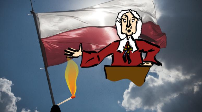"""Polská justice v krizi"". Grafika: Kamila Abbasi"