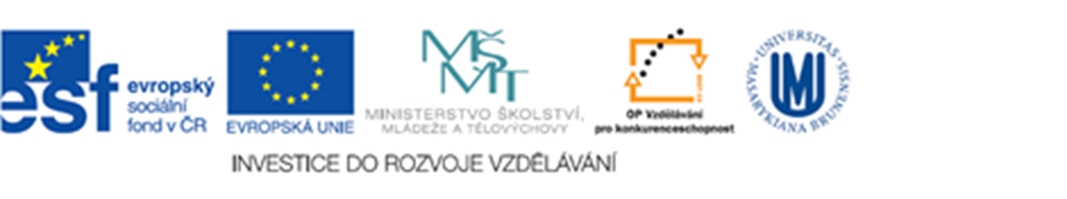 The project is funded from ESF ČR (www.esfcr.cz) and the budget of the Czech Republic