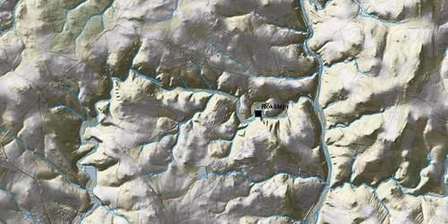 hrad Rokštejn na dolním toku řeky Brtnice (wms služba ČÚZK, 1:10000, stínový model)