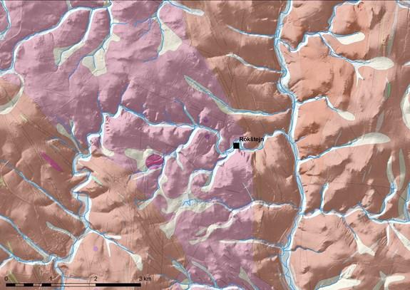 geologická situace Zašovického hřbetu a Puklické pahorkatiny na dolním toku Brtnice, zjednodušená geologická mapa – světle fialový pás hornin, na nichž je také lokalizován samotný hrad reprezentují melanokrátní granity až křemenné monzonity; okolní horniny vyznačené růžově jsou tvořeny především pararulami až migmatity s vložkami amfibolitů, pegmatitů a granitů (wms služba ČÚZK, Česká geologická služba: Geologická mapa 1:50000)