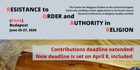 """Konference """"Resistance to Order and Authority in Religion"""" v Budapešti"""