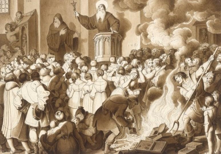 Dav pod vlivem kázání Jana Kapistrána spontánně pálí módní doplňky a další symboly rozmařilosti. Kresba Karla Russe z roku 1832. Zdroj: Wikimedia Commons