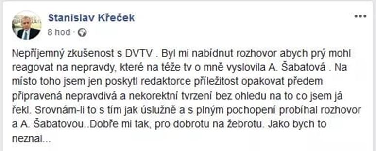 Křeček označil rozhovor pro DVTV na svém Facebooku za nepříjemnou zkušenost. Příspěvek poté smazal.