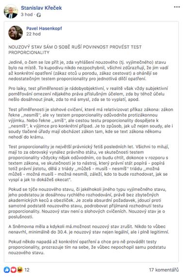 """Stanislav Křeček na svém Facebookovém profilu souzní s názorem, že """"test přiměřenosti je slohové cvičení, které má relativizovat příkaz zákona."""""""