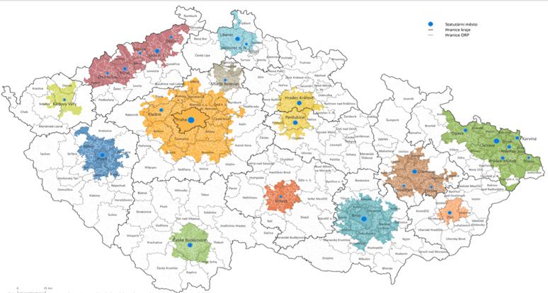 Vymezení území aglomerací využívajících nástroj ITI V PO 2021+.