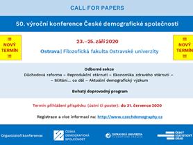 Konference České demografické společnosti: 23.-25. září 2020