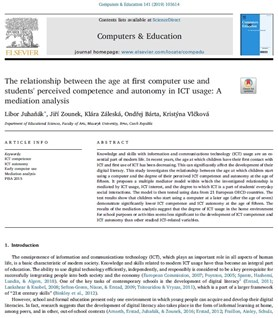 The relationship between the age at first computer use and students' perceived competence and autonomy in ICT usage: A mediation analysis