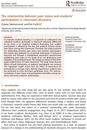 The relationship between peer status and students' participation in classroom discourse
