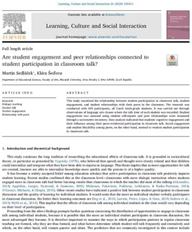 Are student engagement and peer relationships connected to student participation in classroom talk?