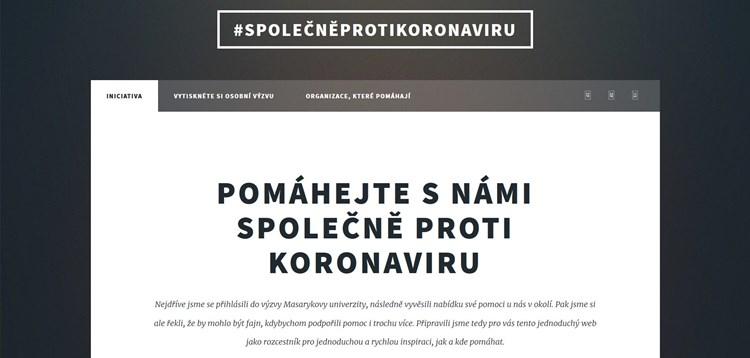 Ukázka webu iniciativy Společně proti koronaviru studentů Jakuba Kopeckého a Martina Tichého.