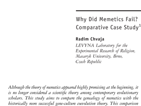 Why did memetics fail?