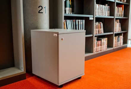 You can find lockers for books and materials near the pillars in Quiet Study Rooms marked with respective number.