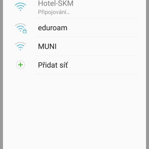 Připojení do WiFi Hotel-SKM na zařízení Android