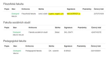 Informace o umístění se zobrazí po kliknutí na název knihy nebo odkaz Jednotky ve výsledcích vyhledávání.