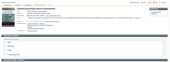 Zobrazení dostupnosti e-knihy v databázích