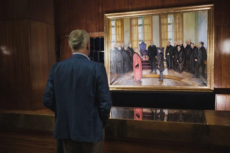 František Hlavica, Uvítání T. G. Masaryka v aule MU na Filozofické fakultně dne 22. června 1924. První veřejné vystavení obrazu na slavnosti Masarykových dnů v únoru 2020