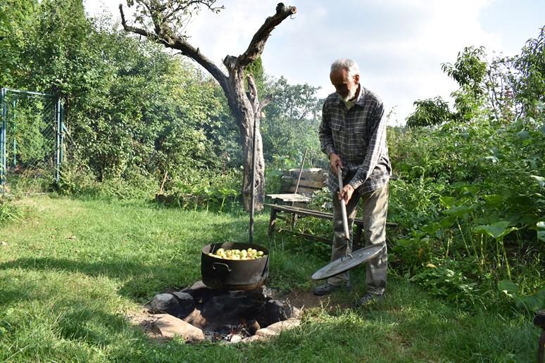 Mojmír Vlašín právě připravuje padaná jablka pro slepice. Foto: Eliška Podzemná