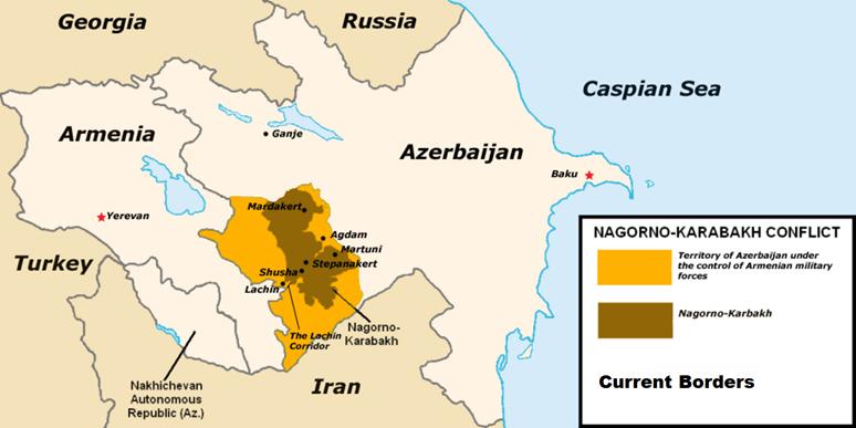 Mapa Arménie, Ázerbájdžánu a Náhorního Karabachu. Foto: Achemish, Wikimedia Commons, CC BY-SA 4.0