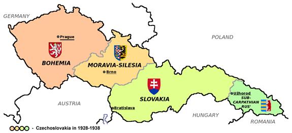 Zemská mapa Československa v letech 1928 až 1938 s vyznačenými zemskými hlavními městy a znaky jednotlivých zemí, 12. 8. 2011, CC BY-SA 3.0