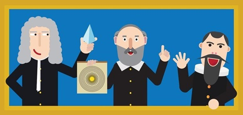 Isaac Newton, Galileo Galilei, Johannes Kepler. Ilustrace: Radek Návrat