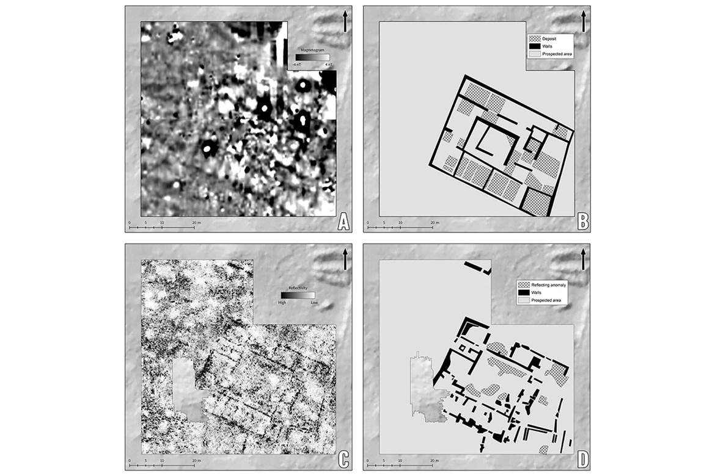 Ideálním příkladem dobré praxe výzkumu římské architektury na Bibracte je is villa PC2. Porovnání výsledků magnetometrického (A, B) a GPR (C, D) průzkumu.