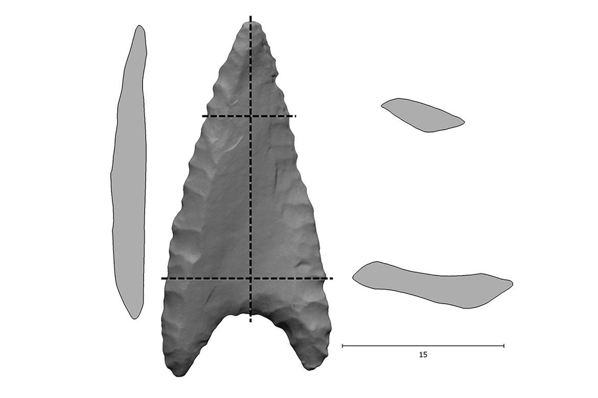 Analysis of ballistic properties (mainly the asymmetries in mass distribution on a surface and in a section) of a projectile from a grave of Nitra Culture in Hroznová Lhota (Czech Republic).