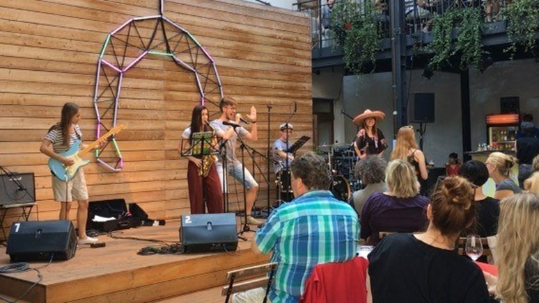 An outdoor concert at the Goose on a String Theater