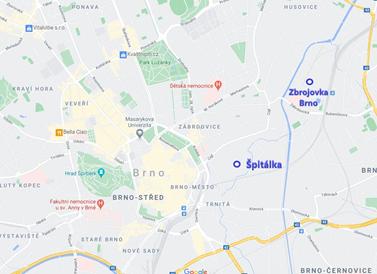 Vizí brněnského magistrátu není transformovat jen území Špitálky, ale celou část Cejl směrem k areálu brněnské Zbrojovky. Zdroj: Google maps