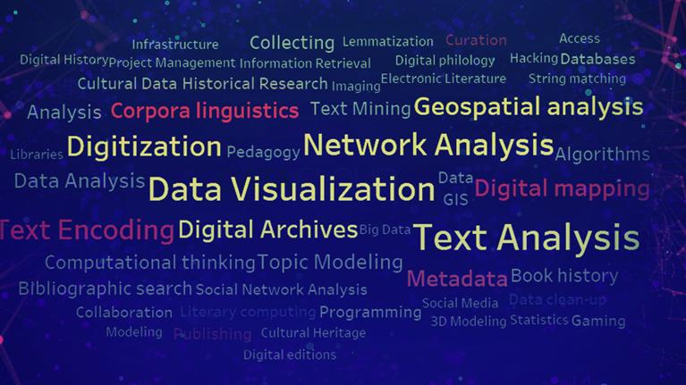 Témata digitálních humanitních věd podle sylabů úvodních kurzů. Autorka: Veronika Wölfelová
