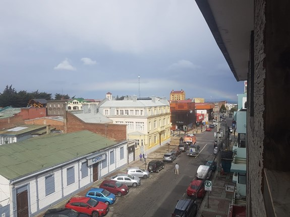 View of the street from the hotel in Punta Arenas, where the expedition spent a strict quarantine period. Photo: Tomáš Spáčil.