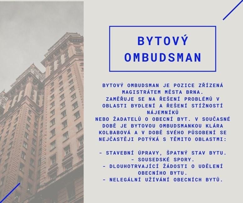 Na bytovou ombudsmanku se mohou obracet nájemníci obecních bytů v Brně se svými stížnostmi. Zdroj: Magistrát města Brna