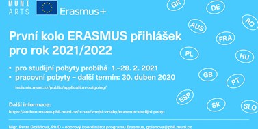 První kolo ERASMUS přihlášek pro rok 2021/2022