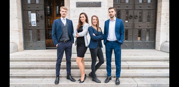 Členové týmu FDI Moot 2020 – zleva Michal Plšek, Michaela Kurková, Kateřina Kotarová, Michal Václavík, zdroj: Barbora Říhová