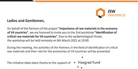 Identification of critical raw materials for the V4 countries