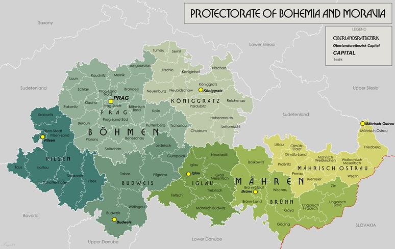 Rozdělení Protektorátu do oberlandratů v roce 1942. Foto 2: Protectorate of Bohemia and Moravia, File:Protectorate Of Bohemia and Moravia.png - Wikimedia Commons.