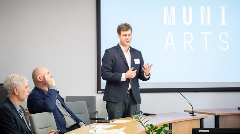 Petr Škyřík na setkání s fakultními školami FF MU v únoru 2020.
