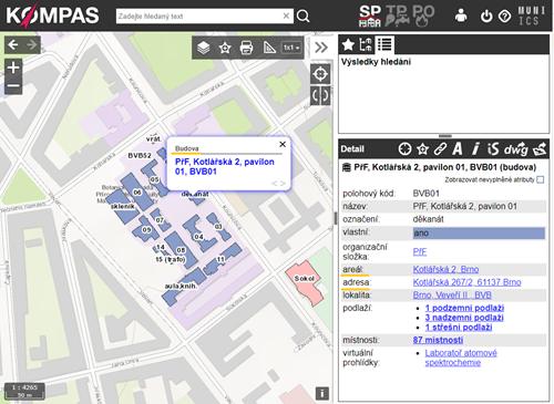 Zobrazení areálů a adres