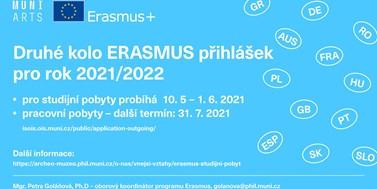 Druhé kolo ERASMUS přihlášek pro rok 2021/2022