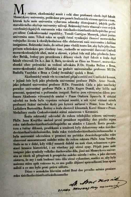 Listina z rektorského žezla Foto: Masarykova univerzita