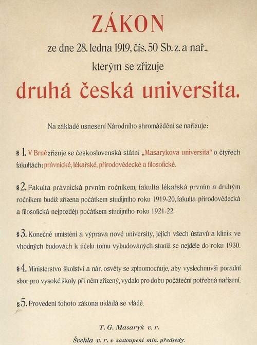 Zákon o zřízení univerzity Foto: Masarykova univerzita