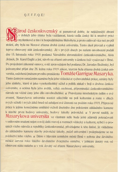 Listina do zákl. kamene pravnicke fakulty Foto: Masarykova univerzita