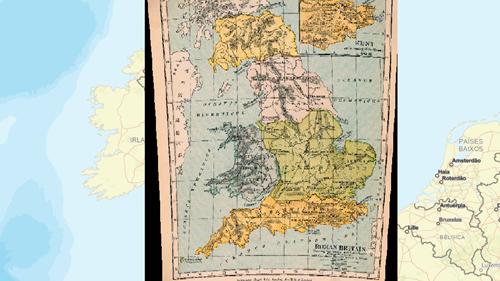 Mapová vrstva s historickou mapou Británie.