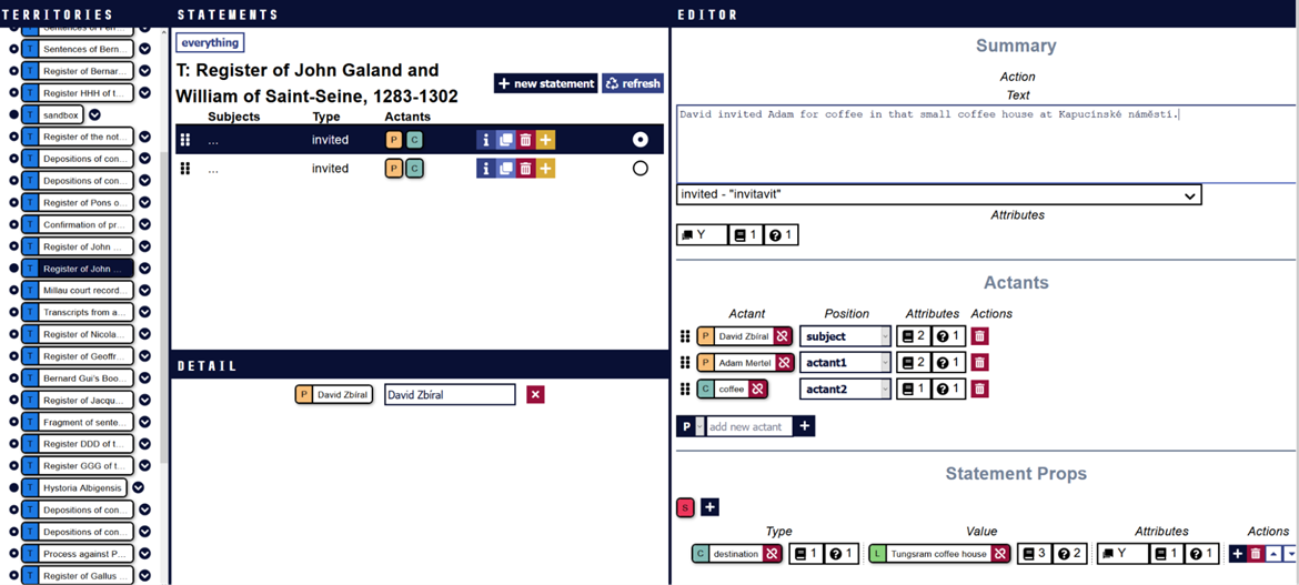 """Fig. 5: The interface of """"InkVisitor"""", a custom software for source modelling."""