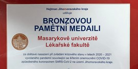 The Governor of the South Moravian Region Awarded the Faculty for Helping to Fight Covid