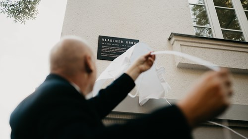 Ceremonial unveiling of the memorial plaque of Vladimír Groh