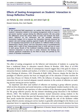 Effects of Seating Arrangement on Students' Interaction in Group Reflective Practice